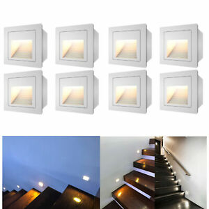 8 x 3W LED Outdoor Wall Plinth Recessed Stair Step Hall Lamp Corner Lights IP65