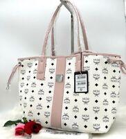 AUTH NWT MCM Liz Shopper Medium Reversible Coated Canvas Tote Shopper Bag White