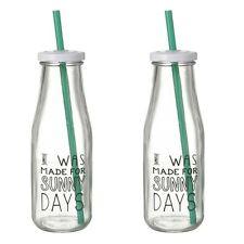 Set of 2 Glass Drinking Bottles with Straws – Milk Bottle – Water – Kids