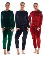Ladies Velvet Pyjamas Long Sleeve Plain Solid Worm Lounge Wear top Pant Sets