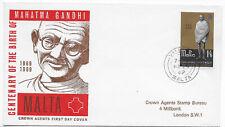 Gandhi centenary 1969 Malta 1/6 Valletta FDC cover cachet