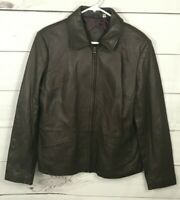 Preston And York Womens Medium Brown Lambskin Leather Jacket Burgundy Lining