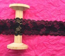 60mm Black Butterfly Stretch Lace Ribbon Trim - Metre