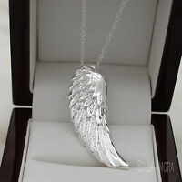 "925 Stamped Silver Pltd Angel Wing Feather Pendant 18"" Chain Necklace NEW -167"