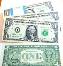 ONE US $1 Dollar banknote Uncirculated from bundle in photo No's I 41269186 B