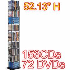 Black Metal CD DVD 8 Tier Shelf Media Storage Tower Rack Organizer Stand Holder