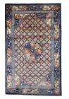 Antique Fine Pure Silk Ninghshia Rug Chinese Peking Tapestry 3x5 Blue C.1920