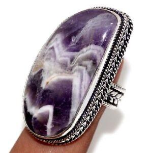 Banded Amethyst Gemstone Ethnic Handmade Vintage Ring Jewelry US Size-8 JW