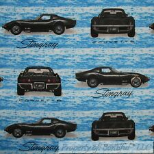 BonEful FABRIC FQ Cotton Flannel Quilt Blue B&W Stingray Boy Corvette Sports Car