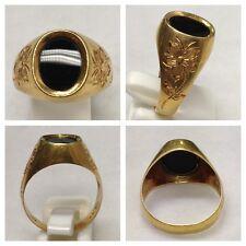 Breiter Goldring Ring 750er Gold mit Onyx Antik