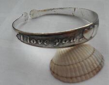 Beautiful narrow tibetan silver bangle cuff bracelet I LOVE YOU two hearts motif