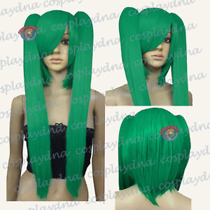 26 inch Heath stylable Light Green Cosplay DNA Wig with Clip-on Ponytails 6GGE