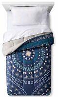 *NEW* Room Essentials Reversible Comforter Blue / Tan Medallion Dorm Bed Twin XL