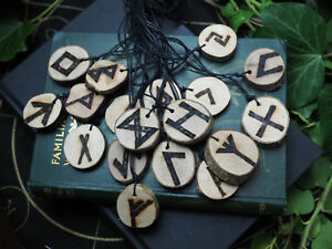Hazel Wood Elder Futhark Rune Pendant With Cord - Norse, Pagan, Wiccan, Witch