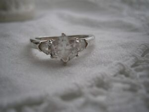 Beautiful Vintage QVC  Sterling Silver HUGH Natural Diamonique Ring, size R/S