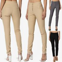 TheMogan Women's Office Casual Mid Rise Slim Skinny Trousers Stretch Ankle Pants