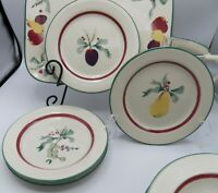 "4 Hartstone Sugar Sugar Salad Plates Fruit Pine Grape Pear Plum 7-7/8"" Holiday"