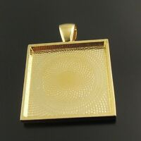 Inner 25*25mm Gold Plated Alloy Square Look Cameo Base Pendant Necklace Craft 8X