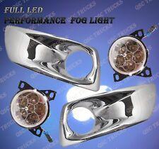 QSC Full LED Fog Lights Lamps Left Right Pair w/ Chrome Bezel for Kenworth T660