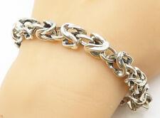 925 Sterling Silver - Vintage Minimalist Byzantine Link Chain Bracelet - B5149