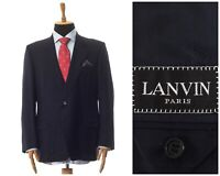 Mens LANVIN Blazer Coat Jacket Two Button Wool Navy Blue Size US/UK 48 EU 58