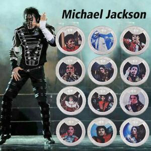 WR 12PCS Michael Jackson SILVER Commemorative Coin Set King Of Pop Music Capsule