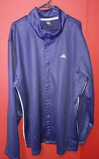 VINTAGE Adidas Blue Snap Button LS Track Warm Up Shooting Sweater 2XT 3 Stripes