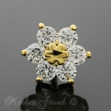14K YELLOW GOLD IP SIMULATED DIAMOND DAISY FLOWER CARTILAGE TRAGUS HELIX STUD