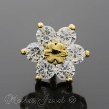 14K YELLOW GOLD IP SIMULATED DIAMOND DAISY FLOWER CARTILAGE TRAGUS HELIX STUD