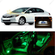 For Honda Civic 2006-2012 Green LED Interior Kit + Xenon White License Light LED