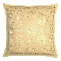 Decorative Cotton Throw Pillows Covers Beige Embroidery Mirror Cushion Cover