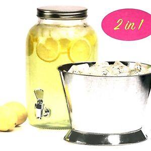 Glass Beverage Dispenser 1 Gallon Capacity With Metal Base 2 In 1 Vintage Styles