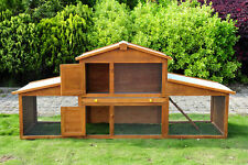 85x25x39inch Wooden Rabbit Hutch Poultry Small Animal Cage w/ Outdoor Run