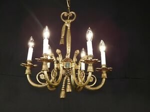 Antique French Six Lite Brass Ribbons and Bows Chandelier PAIR AVAILABLE