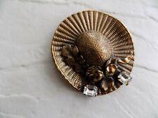Vtg ERMANI BULATTI Huge Gold Hat Rhinestones Pin Brooch Designer