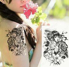 Japanese Geisha Girl with Tiger & Katana Tattoo Fake Sticker Women Mens Arm Leg