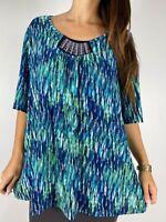 BEME Blue Green Print Stretch Half Sleeve Beaded Trim Top Plus Size L AU 20-22