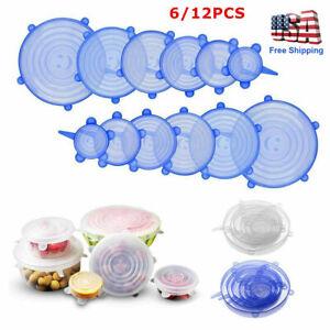6/12Pcs Silicone Stretch Reusable Bowl Food Storage Wraps Cover Seal Fresh Lids