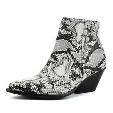 Womens Rock Ankle Boots Pointed Toe Snakeskin Chunky Heel Chelsea Shoes 47 48 D