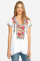 Johnny Was JWLA  Axton Drape V Neck Linen Top Embrodiered J19018 New Boho Chic