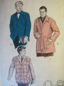 VTG 50s BUTTERICK 6320 Mens Boxy Sports Jacket in 3 Versions PATTERN M/38-40
