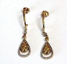10k yellow gold .33ct SI2 H diamond cluster dangle earrings 2.6g butterfly backs
