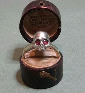RARE FINE ANTIQUE 9ct GOLD MEMENTO MORI STERLING SILVER & RUBY RING