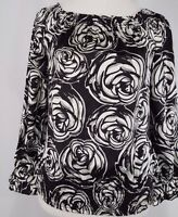 White House Black Market Women's Blouse Sz XS Rose Floral  Long Sleeve Silk Top