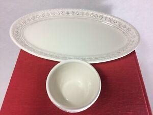 "Hallmark Snowflake & Christmas Tree Edged Serving Plate/Platter w/Dip Bowl 12.5"""