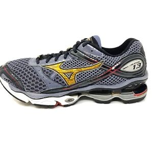Mizuno Mens Wave Creation 13 Running Shoes Gray Yellow Running Shoes Sz 10.5 M