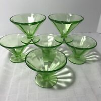 Federal Glass Green Vaseline Uranium Depression Sherbet Fruit Cups Vintage Set 6