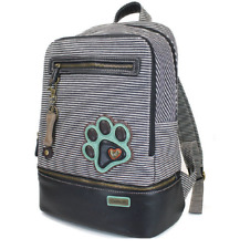 Chala Backpack Style Purse Striped Puppy Dog Pawprint with detachable Key Chain