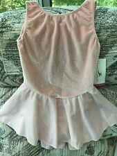Motionwear NWT light pink velvet sparkle skating dance dress girl med. 8-10