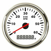 Marine RPM Tachometer Gauge LCD Tacho Hour Meter 6000RPM 85mm for Car Truck Boat